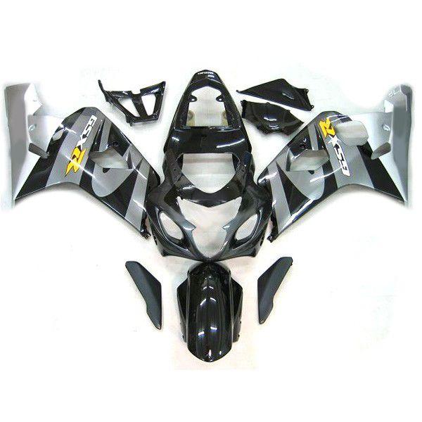 스즈키 GSXR 600 750에 맞는 맞춤형 모터 사이클 페어링 키트 GSX-R600 R750 2004-2005 04-05 회색 / 검정색 차체