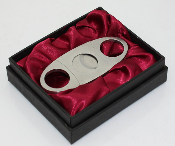 top popular Stainless steel cigar cutter in gift box ,silk inner lined 2019