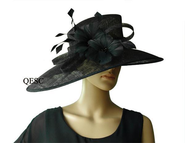 Black Big brim Sinamay Church Hat with ostrich feather, wedding races.