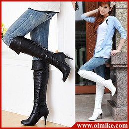 Wholesale Roman Style Boots - Free shipping New style Wholesale price women sexy high heel PU shoes knee boots boot for ladies WB0