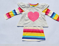 Wholesale Shaping Long Skirt - Wholesale - 2012 children's clothing girls clothing rainbow skirt+love Heart-shaped jacket suit