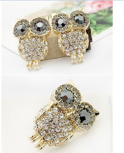 Earrings Artificial Diamond Elegant Owl Earrings Studs Bohemian Owl Earrings Studs