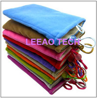 Wholesale Iphone Pouch 3gs - 150pcs lot LEEAO The Velvet Pouch Bag For iphone 3 3GS 4 4s itouch iPod iPhone MP3 MP4 cellphone