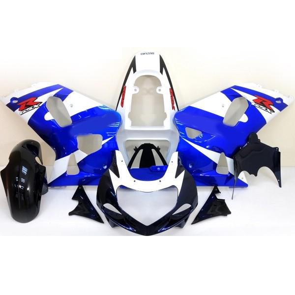 스즈키 GSXR600 / 750 맞춤형 페어링 키트 GSX-R600 R750 2000-2003 00 01 02 03 블루 / 화이트 페어링