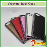 Wholesale I Phone 5g - 10pcs New Silver Metal Weaving Hard Back Case Cover Fit For I Phone 5 5G