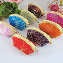 Wholesale chinese favor boxes cheap - Cheap Small Seashell Zipper Wedding Favor Candy Bags Box Christmas Birthday Party Silk Coin Purse Wallet Jewelry Gift Pouch Wholesale 20pcs