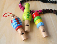 Wholesale Kids Animal Whistle - 2015 new arrival Musical Instrument Toy Wood Animals Whistle For Kids Hobbies Free Shipping Free Shipping 5pcs