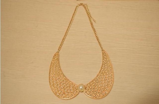 금속 중공 다이아몬드 목걸이 진주 별이 빛나는 거짓말 목걸이