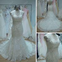 Wholesale Beach Portrait - Beach Wedding Dresses Mermaid Lace V Neck Beaded Fishtail Chapel Train Designer Bernadette Wedding Dress