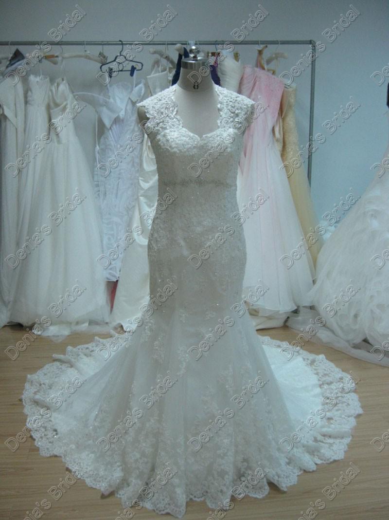 비치 웨딩 드레스 인어 공주 브이 넥 페쉬 테일 채플 기차 디자이너 베르나 데트 웨딩 드레스