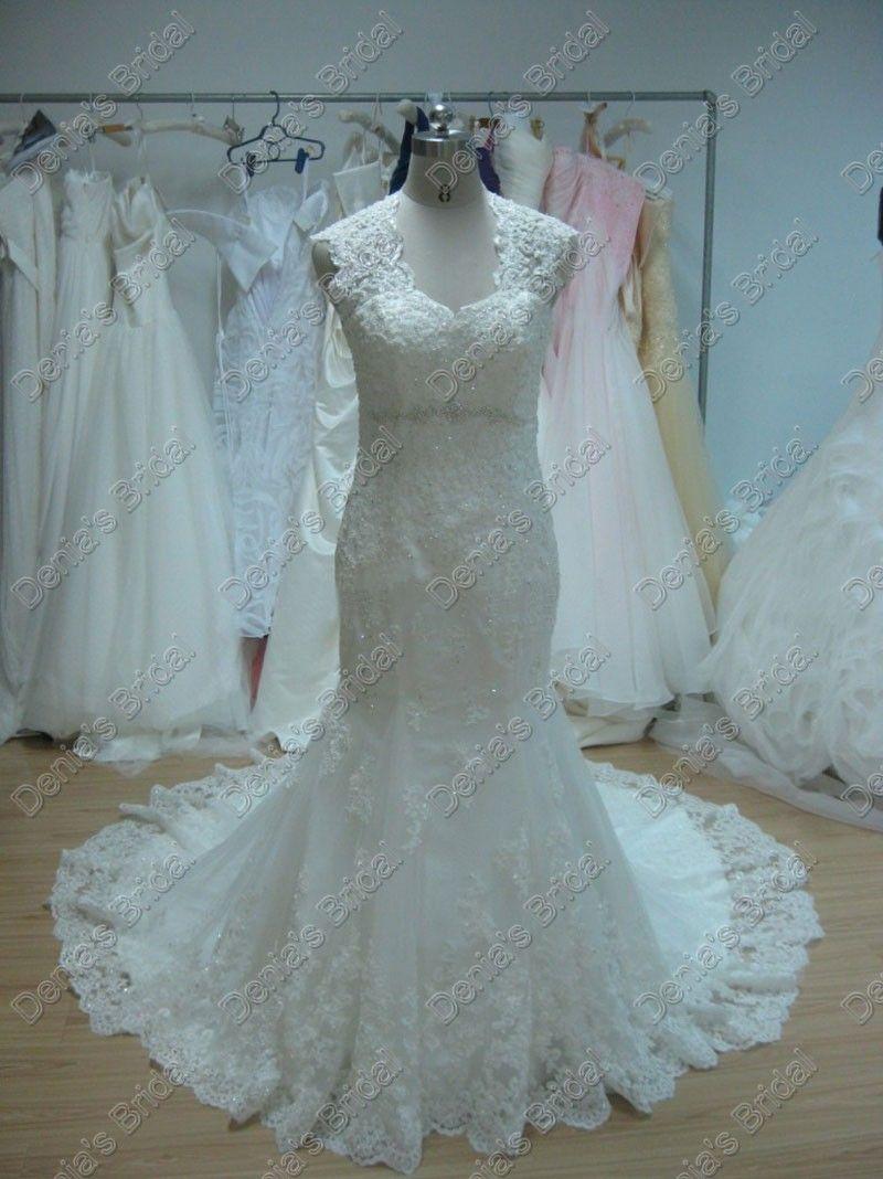 Beach Wedding Dresses Mermaid Lace V Neck Beaded Fishtail Chapel Train Designer Bernadette Wedding Dress