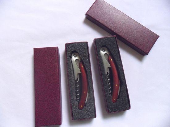 Logo personnalisé cadeau de mariage Multi-fonction Rouge Wood poignée de tire-bouchons à double articulation serveurs bouteille bouteille de bouchon de vin