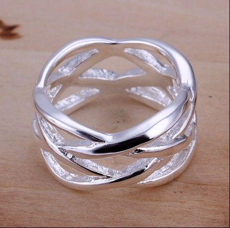 Gloednieuwe hoge kwaliteit 925 zilveren visnet ringen mode unisex sieraden gratis verzending