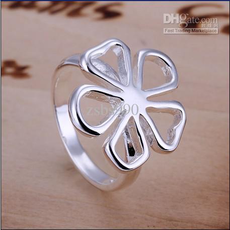 Nuevo anillo de flor de plata de alta calidad 925 joyería de moda envío gratis