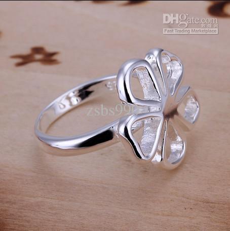 Nova marca de alta qualidade 925 anel de flor de prata frete grátis