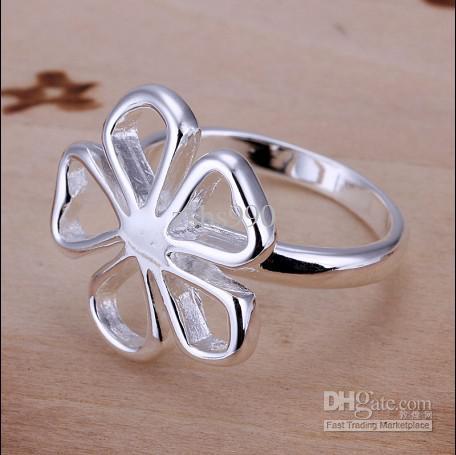 Gloednieuwe hoge kwaliteit 925 zilveren bloem ring mode-sieraden gratis verzending