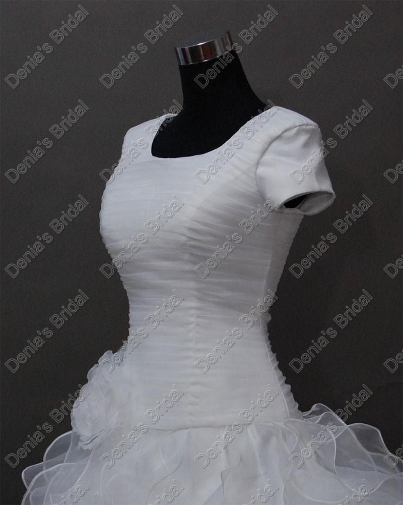 2017 Curto Vintage mangas casamento elegante vestidos de noiva corpete plissado saia em camadas reais reais Imagens DB236