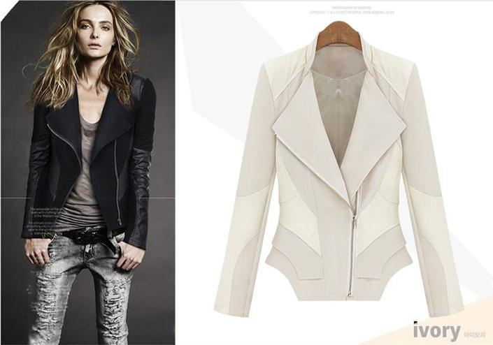 2014 Winter Coats Fashion Jacket Wj13955 Leather Stitching Cotton ...