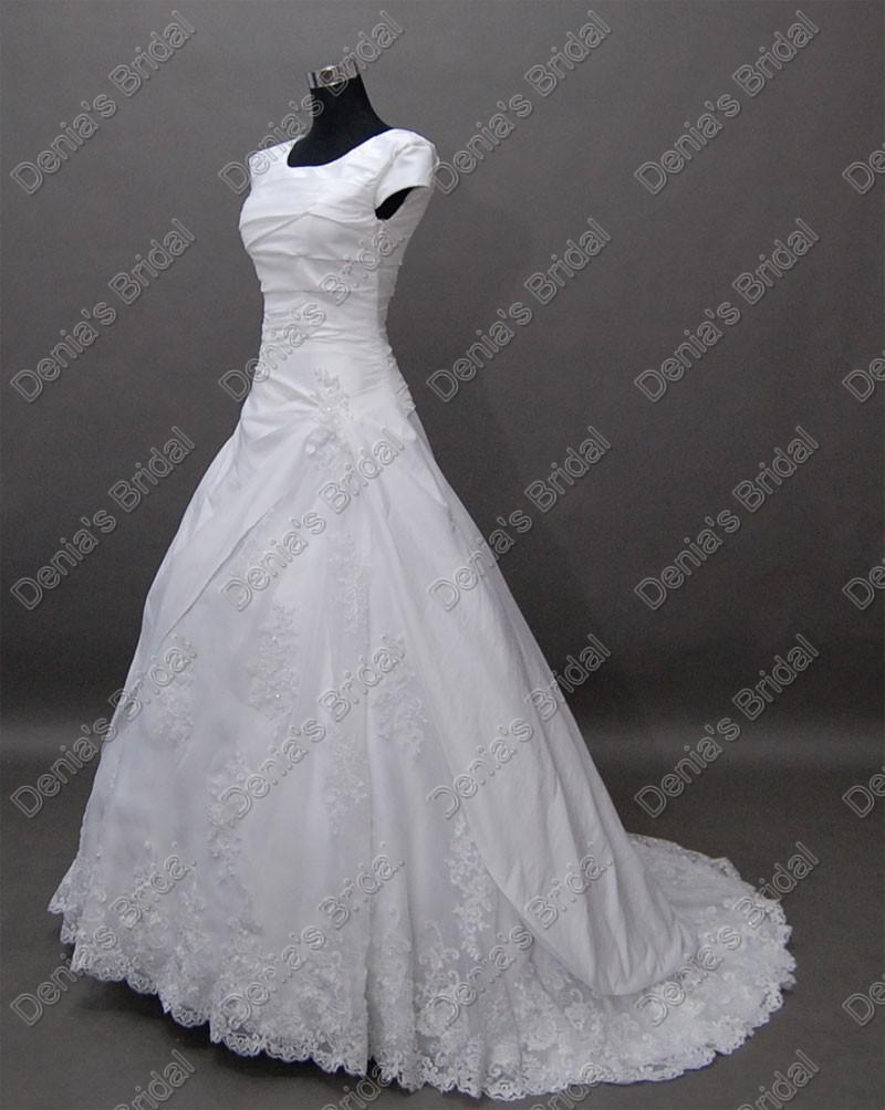 Ny Ankomst Vintage Kortärmad Brud Bröllopsklänningar Tulle Lace Cover Real Faktiska bilder DB239