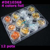 Wholesale Nail Foils 3d - [AJ041]Freeshipping- 12 pots Colors Nail Art Glitter Foil Decoration Set Wholesales #DE10368