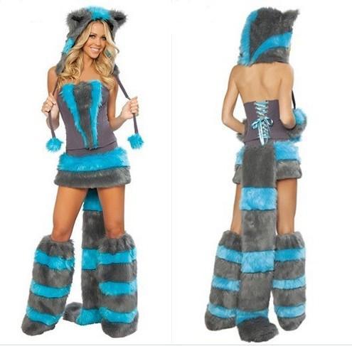 섹시한 모피 Fasching 늑대 고양이 소녀 할로윈 의상 코스프레 멋진 파티 드레스 모자 다리 세트 Coatee 스커트 풀 세트 크리스마스