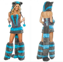 Sexy Furry Fasching Wolf Cat Girl Costume di Halloween Cosplay Fancy Party dress up Cappello Gamba Set Coatee Gonna Set completo di Natale da