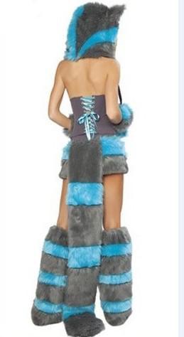 セクシーな毛皮のファスチオオカミキャットガールハロウィーンコスチュームコスプレのファンシーパーティードレスアップ帽子レッグセットコアテのスカートフルセットクリスマス