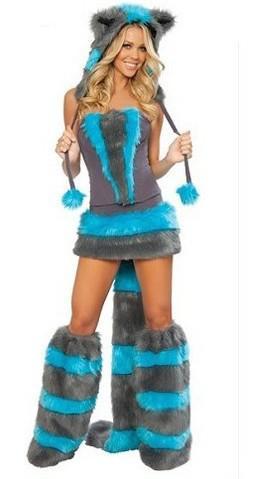 Sexy Bont Fasching Wolf Kat Meisje Halloween Kostuum Cosplay Fancy Party Dress Up Hat Leg Set Coatee Rok Volledige Set Kerstmis