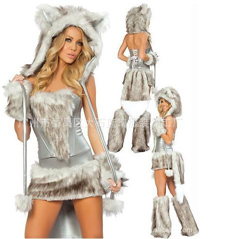 Nyaste Sexiga Furry Fasching Wolf Cat Girl Halloween Kostym Cosplay Fancy Party Dresses Full Set Xmas Party Clothing Gift