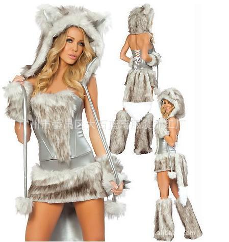 Sexy Furry Impressão Leopardo Peludo Halloween Costume Halloween Cat / Lobo / Leopardo Boate COS roupas catwomen festa de natal vestido desgaste presente