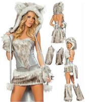 Hot selling Newest Sexy Furry Fasching Wolf Cat Girl Halloween Costume Cosplay Fancy Party Dresses Full Set Xmas party clothing gift