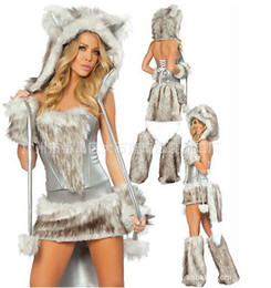 S'habille Complètement Pas Cher-Le plus récent sexy Furry Fasching Wolf Cat Girl Combinaison Costume Halloween Robes de soirée fantastique Full Set Xmas party clothing gift