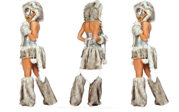 Date Sexy Furry Fasching Loup Chat Fille Halloween Costume Cosplay Robes De Soirée Complet Ensemble De Noël parti vêtements cadeau
