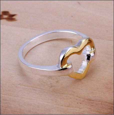 O envio gratuito de alta qualidade 925 prata as separações coração anel presente do Dia Dos Namorados jóias