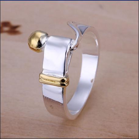 Brand new alta qualidade 925 cor prata separação a moda anéis unisex jóias frete grátis