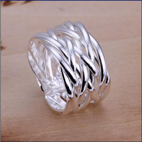Gloednieuwe Hoge Kwaliteit 925 Silver Gevlochten Opening Ringen Fashion Unisex Sieraden Gratis Verzending 10 Stks