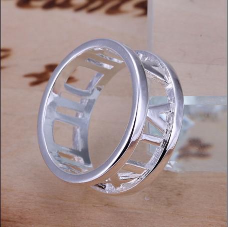 Hoge kwaliteit 925 zilveren Romeinse ring 6-10 # gratis verzending 10pcs / lot