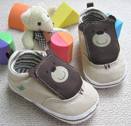 Wholesale Toddler Canvas Shoes Sale - New Hot Sale toddler baby boys cotton bear babe First walker shoes size 11 12 13cm