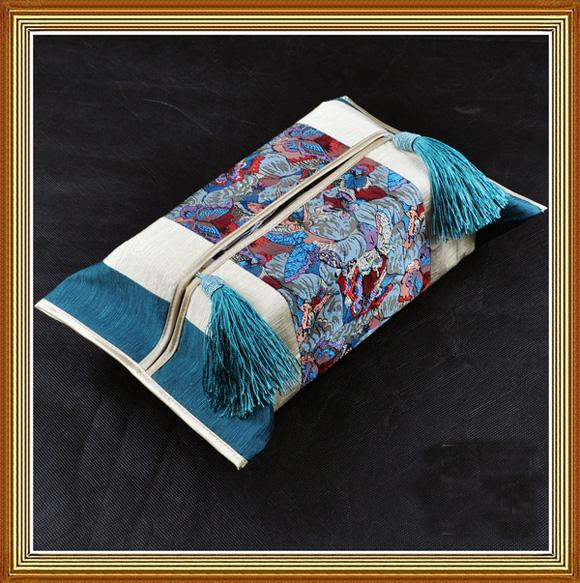 Patchwork Removable Kleenex Box Cover for Car Coffee Table Dining Room Chinese style Silk Brocade Cotton Tassel Cloth art Facial Tissue Case