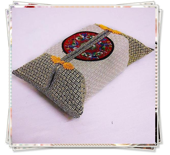 Cubiertas de la caja de tejido de lino Rectangular Buena calidad de los estilos chinos 10pcs / lot color de la mezcla gratis