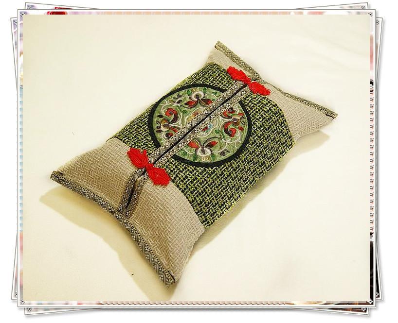 독특한 리넨 티슈 박스 커버 직사각형 좋은 품질의 중국 스타일 10pcs / lot 혼합 색상 무료