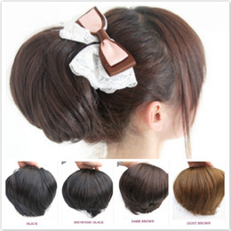 Wholesale Ladies Bun - ladies' fashion big synthetic hair bun bride's hair chignons small ponytail hair extenison