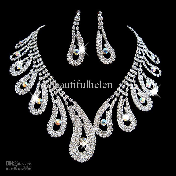 Wholesale Fashion Bridal Jewelry Set Artificial Diamond Bridal ...
