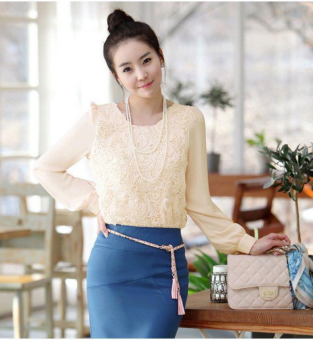 Wholesale Ladies Cute Rose Flower Long Sleeve Tshirt Work ...