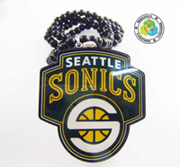Wholesale Logo Goodwood - HIP HOP goodwood style resin beads sonics logo basketball team pendant acrylic necklace 20pcs lot