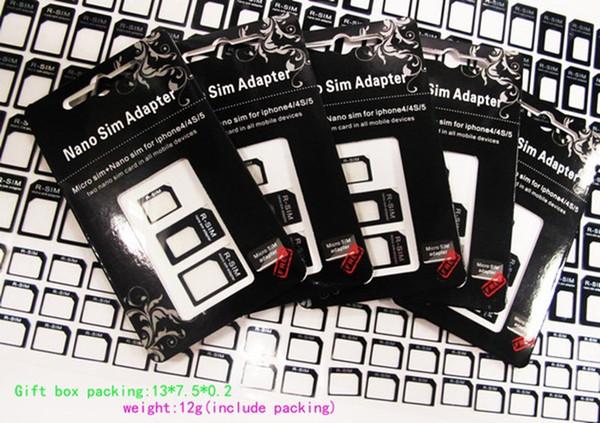 Adaptateur 3 en 1 Nano Micro Sim, adaptateur R-sim pour iPhone 5, 5e (300pcs) 100set / lot, noir