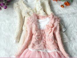 Wholesale Ladies Dress Coats - Girl Suits Girl Lace Coat + Long-Sleeved Dress Suit Cotton 2 Pieces Lady Suit 222 Beige pink