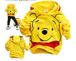 Wholesale Boys Yellow Cartoon Bear - Popular boys yellow Cartoon Bear Hoodies Long Sweatshirts Children's clothing coat.