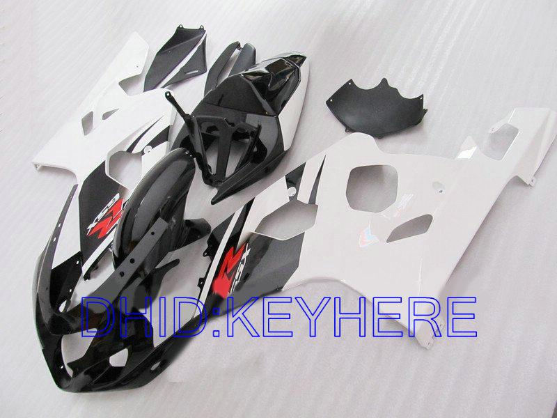 Vit svart karosseri för Suzuki GSXR 600 750 2004 2005 GSX R600 GSXR600 GSXR750 04 05 K4 Fairing Kit