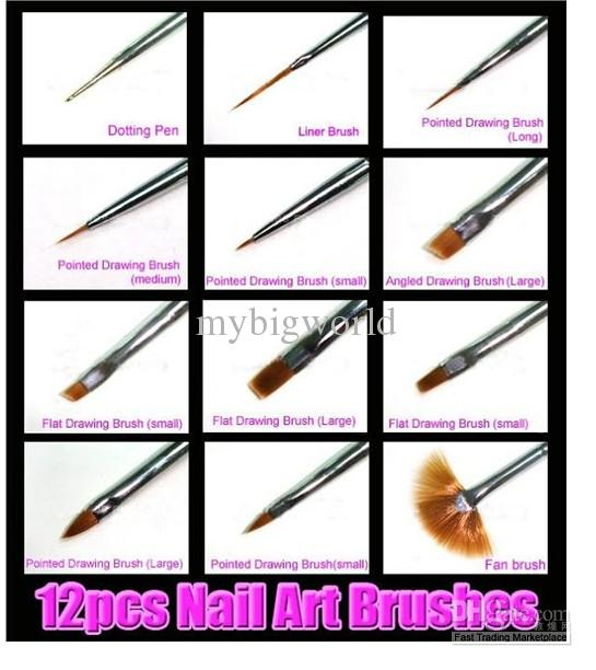 One Set Of Nail Art Tip Brushes Pen Dot Flat Brush Painting Dotting Tool